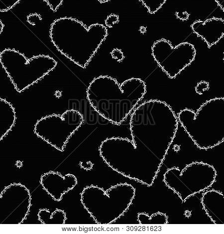 Pattern Hand Drawn Heart Grange Texture. Romantic Love Design