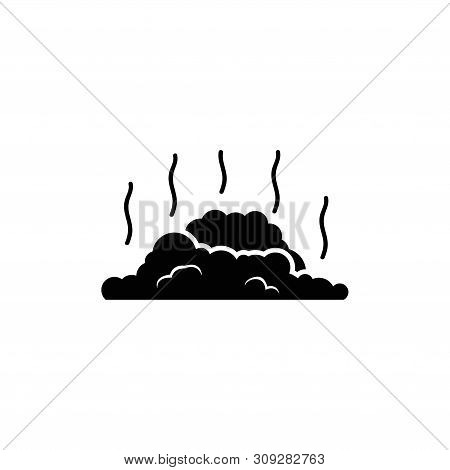 Garbage Dump, Litter Landfill. Flat Vector Icon Illustration. Simple Black Symbol On White Backgroun