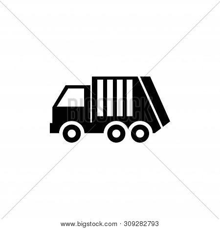 Garbage Loader Truck, Sanitary Vehicle. Flat Vector Icon Illustration. Simple Black Symbol On White