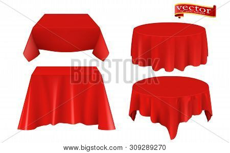 Red Silk Cloth Covered Table Realistic Set. Red Silk Cloth Covered Objects Realistic Set Tablecloth.