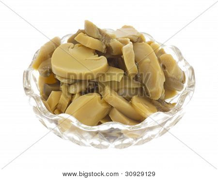 Canned Sliced Mushrooms In Dish Side View