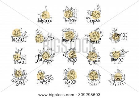 Tobacco Logo Design Set, Emblems Can Be Used For Smoke Shop, Gentlemens Club And Tobacco Products Ha