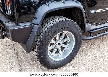 Samara, Russia - May 18, 2019: Close Up View Of Hummer Vehicle Wheel With Tire