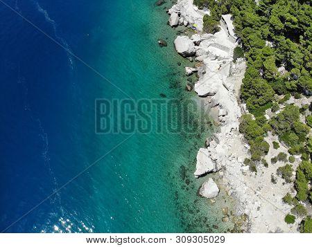 Dalmatia Adriatic Coast. Croatia Aerial Coast Landscape Photo. Beaches And Coast Of Mimice.