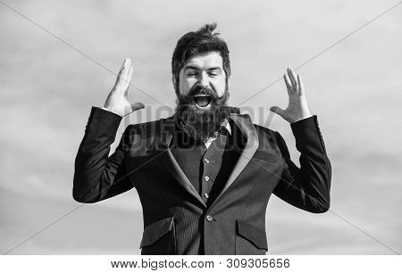 Optimistic mood. Think like optimist. Being optimistic. Hopeful and confident about future. Unexpected luck. Man bearded optimistic businessman wear formal suit sky background. Success and luck poster