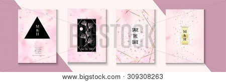 Falling Cherry Blossom Rsvp Wedding Set. Polygon Abstract Nature Package. Elegant Cherry Healthcare