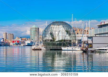Genoa, Italy - April 08, 2019: The Aquarium Of Genoa Is The Largest Aquarium In Italy. Located In Th