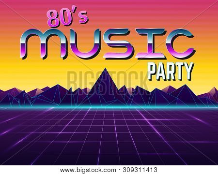 Vector Image Of Old, Retro, Vintage Style. Party Banner, Invitation, Flyer, Futurism , Advertising.