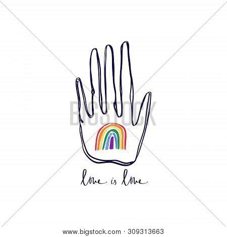 Lgbt Hand, Stop Homophobia, Hand Print With Hand Drawn Rainbow, Human Rights Observance. Lesbian, Ga