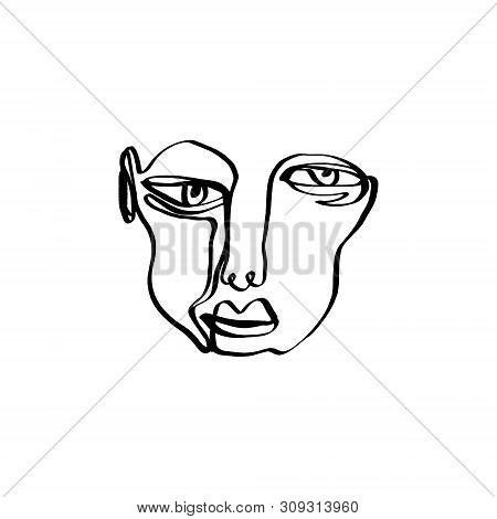 Hand Drawing Face Line Art In Cubism Style. Monochrome Print For Clothes, Textile And Other. Vector.
