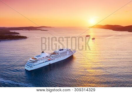 Croatia. Aerial View At The Cruise Ship During Sunset. Adventure And Travel.  Landscape With Cruise