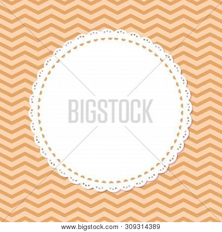 Retro Photoframe, Spare Place In Round Frame Isolated On Striped Pink Or Purple Background. Vector P