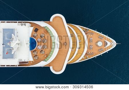 Croatia. Aerial View At The Cruise Ship From Drone. Adventure And Travel.  Landscape With Cruise Lin