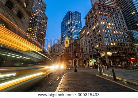 Scene Of Boston Old State House Buiding At Twilight Time In Massachusetts Usa, Architecture And Buil