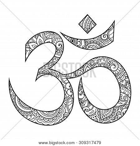 Om Or Aum Indian Sacred Sound. The Symbol Of The Divine Triad Of Brahma, Vishnu And Shiva. The Sign