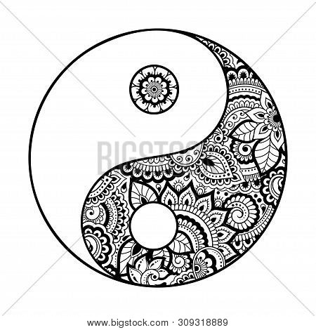 Yin-yang Hand Drawn Symbol. Circular Pattern - Sign Interaction Of Opposites For Mehndi, Henna And T