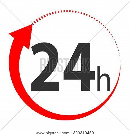 24 Hours Icon On White Background. 24 Hours Sign. Flat Style Design. 24 Hours Delivery Symbol.