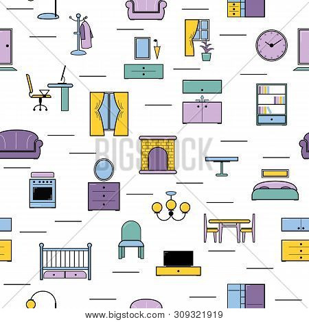 Furniture Seamless Pattern Furnishings Design In Interior Of Bedroom Or Living Room With Sofa Bed Ar