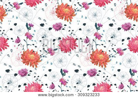 Art Floral Vector Seamless Pattern. Pink And Orange Asters, Purple Cornflowers, Pink Mallow. Vector