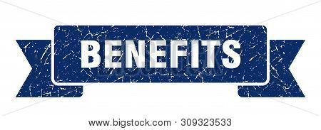 Benefits Grunge Ribbon. Benefits Sign. Benefits Banner