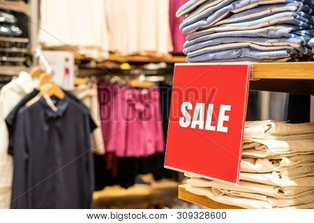 Sale Banner And Advertise Frame In The Shopping Department Store At Mall