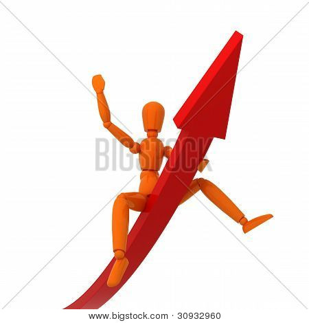 Orange mannequin and red graph. Isolated.
