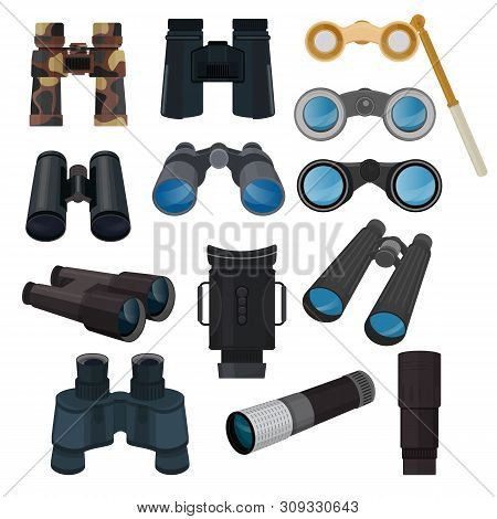 Binoculars Vector Optical Equipment Spyglass Optics Look-see Looking Far View Illustration Set Of Bi