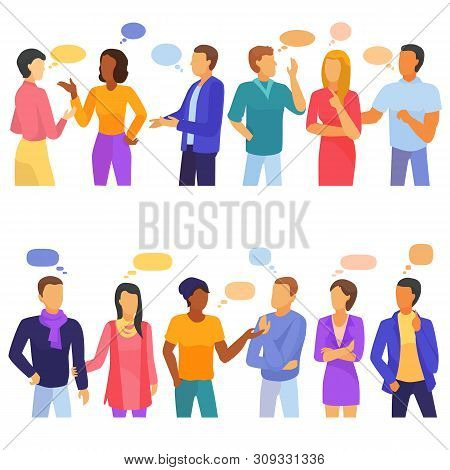 Bubble People Vector Bubbling Speech Communication And Group Of Man Woman Friends Discussion Illustr