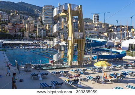Monaco, Monaco - June 24, 2016: The Rainier Iii Nautical Stadium, Municipal Sports Complex In La Con