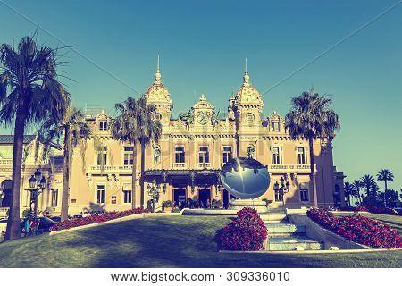 Monte Carlo, Monaco - June 24, 2018: Facade View Of Famous Grand Casino De Monte Carlo On Place Du C