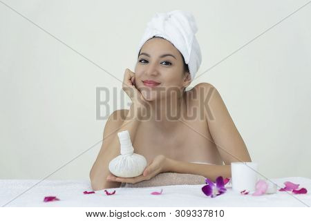 Clean The Face For A Relaxing Massage.hands On The Face.facial Treatment.cosmetic
