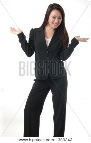 Attractive Business Woman With Hands Out