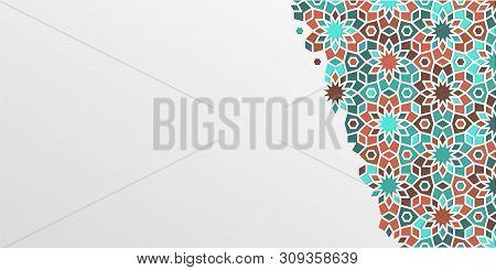 Arabic Girih Design Background For Ramadan Kareem. Islamic Ornamental Colorful Detail Of Mosaic. Gre