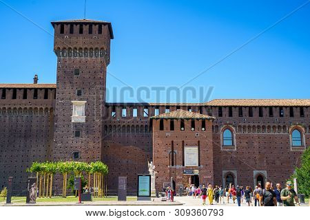 Milan, Italy - June 16, 2019: Sforza Castle (castello Sforzesco) In Milan, Italy