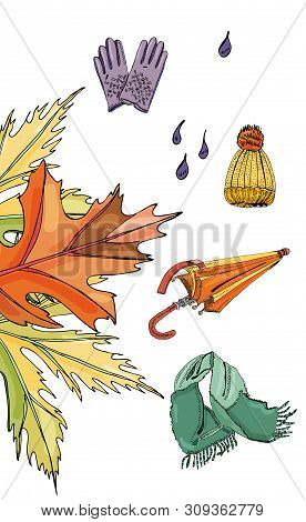Set With Hand Drawn Of Items Of Autumn Clothes, Leaves And Drops.iink And Colored Sketch Elements  I