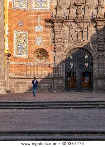 Puebla, Mexico, In March 20, 2019 - Facade Of Baroque Religious Convent St. Francisco De Asis Church