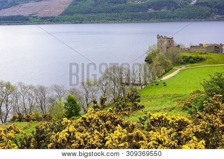 The Historic Urquhart Castle On The River Ness In Scotland
