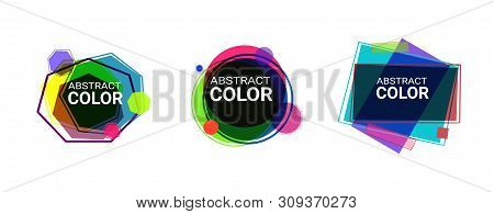Abstract Geometric Shape Set. Yellow, Blue, Purple, Green, Pink Circles, Heptagons And Rectangles. T