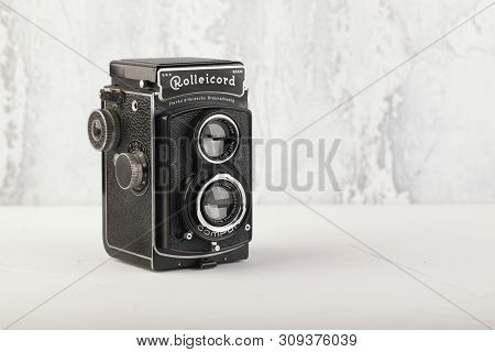 Moscow, Russia, July 02, 2019. The Old German Medium-format Tlr Camera Rolleicord, Released 1937 On