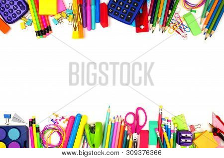 School Supplies Double Border. Top View Isolated On A White Background With Copy Space. Back To Scho