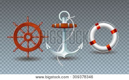 Vector Illustration With Steering Wheel, Anchor And Lifebelt Collection Isolated On Transparent Back