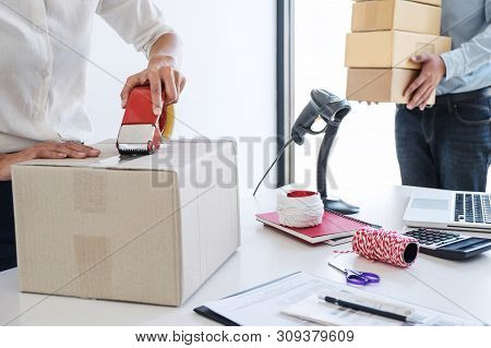 Small Business Owner Delivery Service And Working Packing Box, Business Owner Working Checking Order