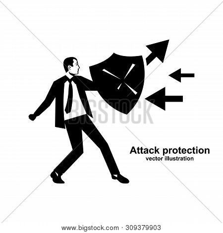 Attack Protection. Black Silhouette Businessman Hold Shield Defending From Attacks. Reflection Impac