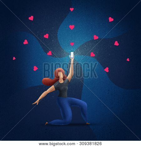 Beautiful girl holds up a shimmering phone. Woman is holding the phone above. Concept illustration.