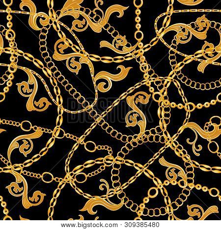 Golden Chains Baroque Jewelry Seamless Vector Pattern. Gold Accessory Backdrop For Fashion Art Desig