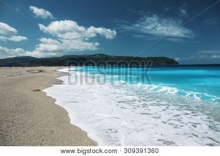 Agios Ioannis Beach, Lefkada island, Greece. Beautiful turquoise sea on the island of Lefkada in Greece