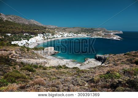 Beautiful Kapsali Bay on Kithira island, Greece.