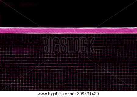 Badminton Pink Net Indoor On Badminton Court, Closeup View Of Badminton Net With Black Background