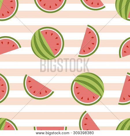 Watermelon Vector Seamless Background. Healthy Fresh Fruit.