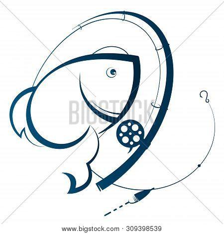 Fishing Rod And Fish Silhouette Design Illustration